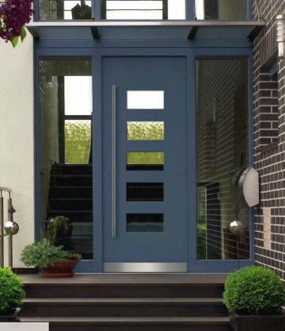Haustür blau mit 2 Seitenteilen